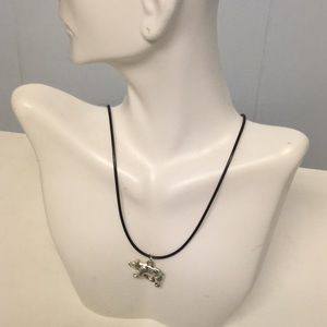 Silver Bear Black Corded Necklace